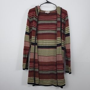 Fresh Hoodie Multi-Colored Cardigan Sweater